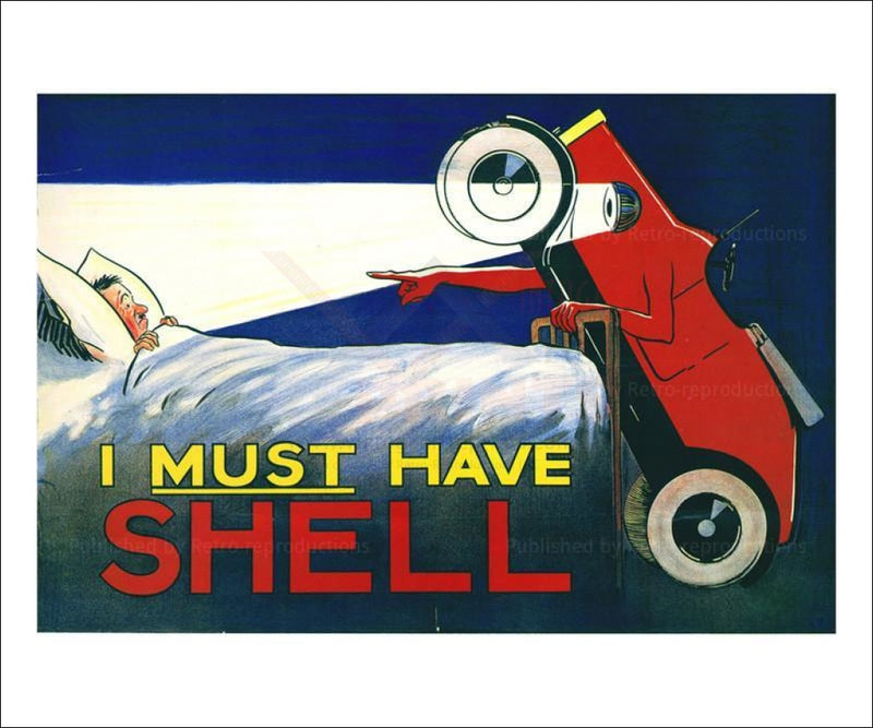 I Must Have Shell Roadster 1925 - Vintage Art, canvas prints