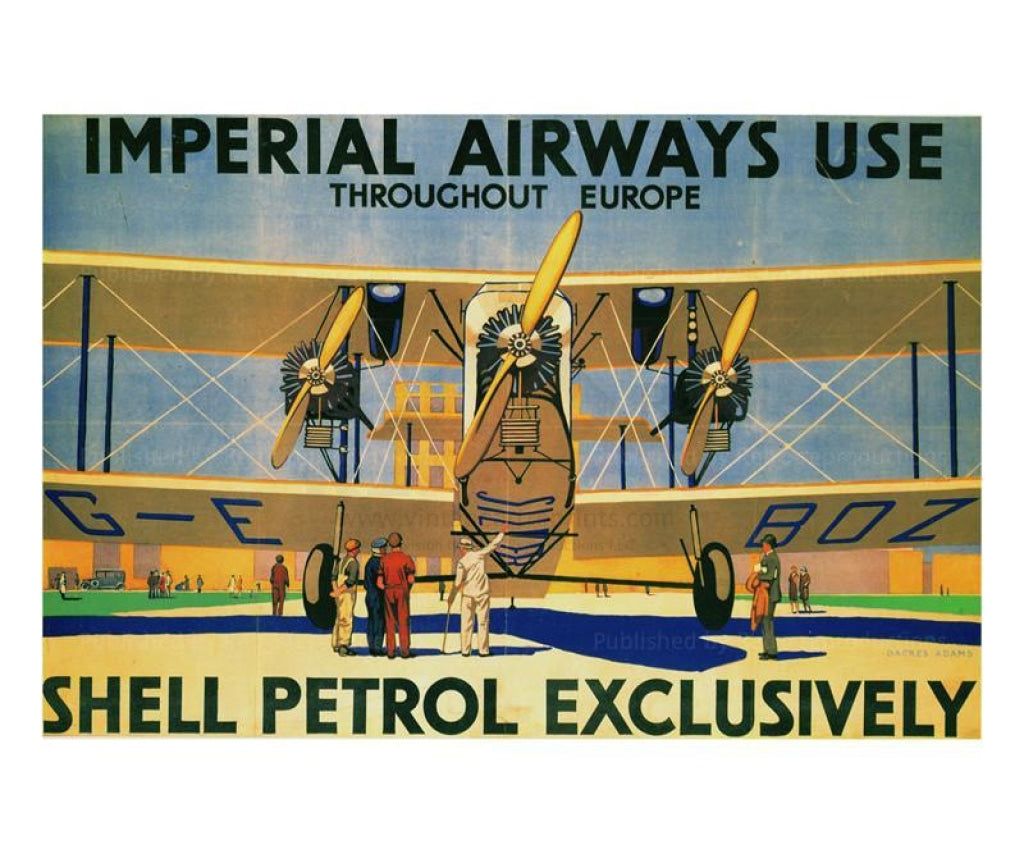 Imperial Airways Bi-Plane 1929 - Vintage Art, canvas prints