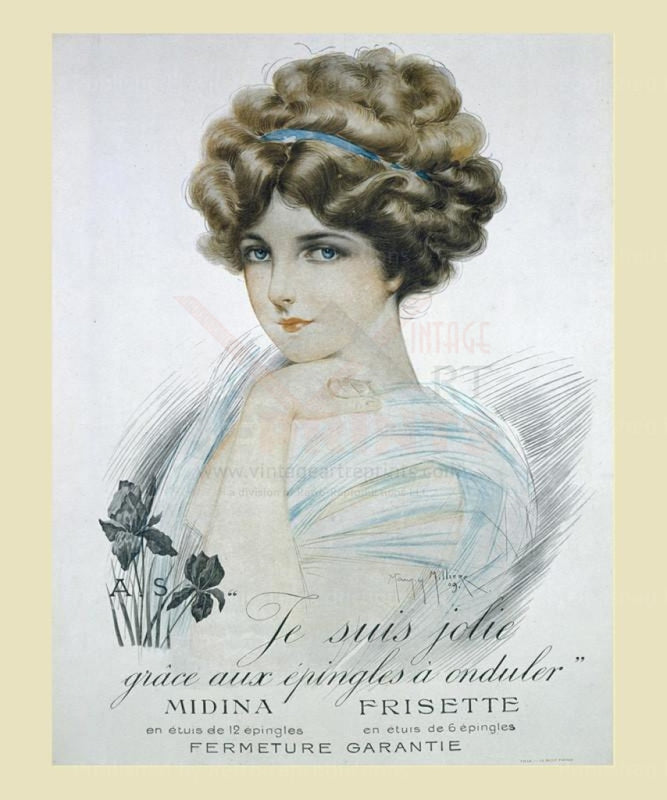 Midina Frisette, Hair advertising, art print - Vintage Art, canvas prints