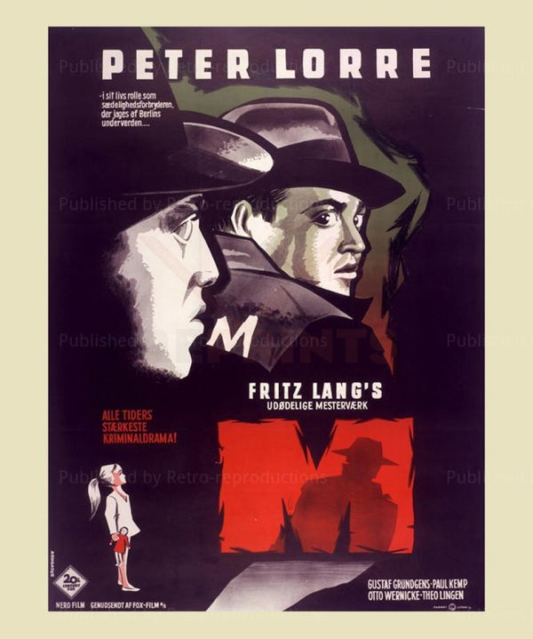 """The Movie """"M"""" Poster - Fritz Lang Director 1933 - Retro-Reproductions, LLC."""