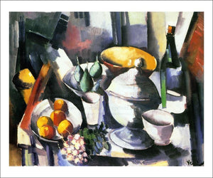 Nature morte aux fruits et a la bouteille 1910 - Vintage Art, canvas prints