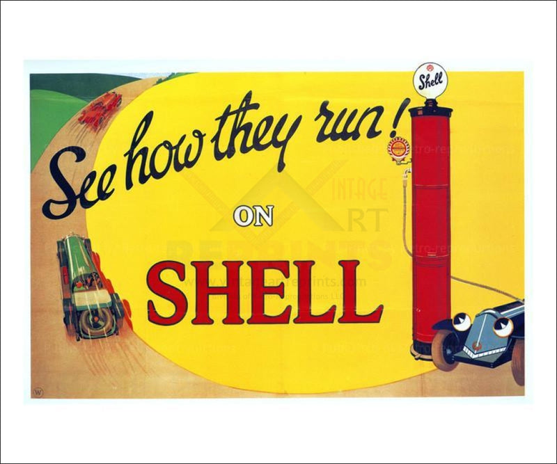 See How They Run on Shell 1925 - Vintage Art, canvas prints