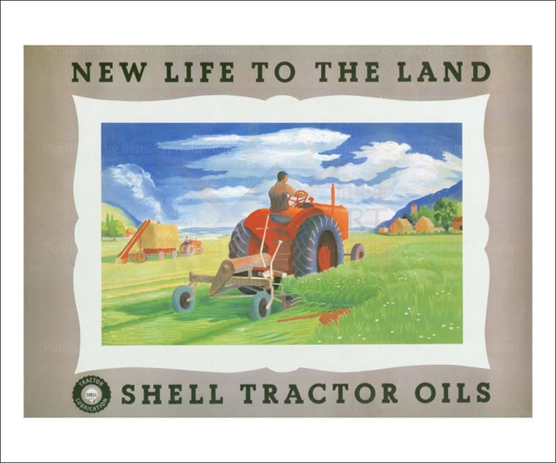 Shell - New Life Tractor 1951 - Vintage Art, canvas prints