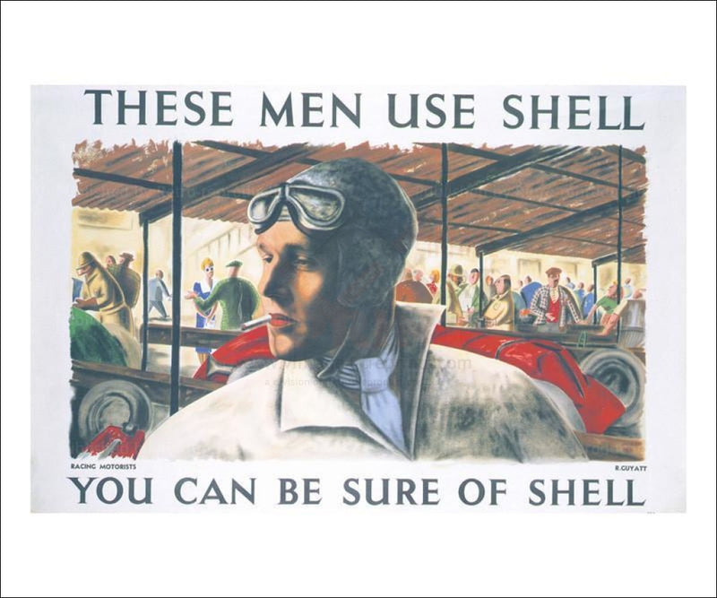 Shell Race Car Driver 1939 - Vintage Art, canvas prints