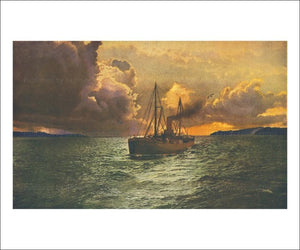 Sunset on the Columbia - Vintage Art, canvas prints
