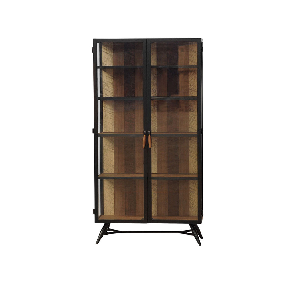 Bois et Cuir's Medley Series 4-Shelf Armoire in Multi-tone Natural Finish