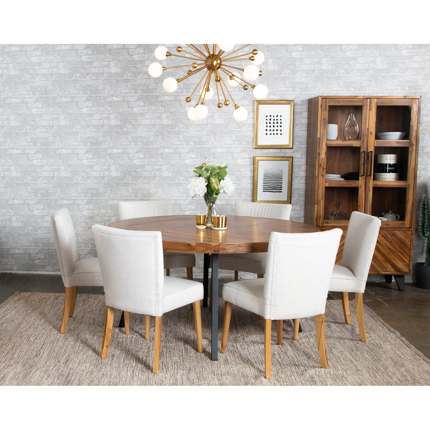 Avalon Round 8 Seat Dining Table Large Bois Cuir