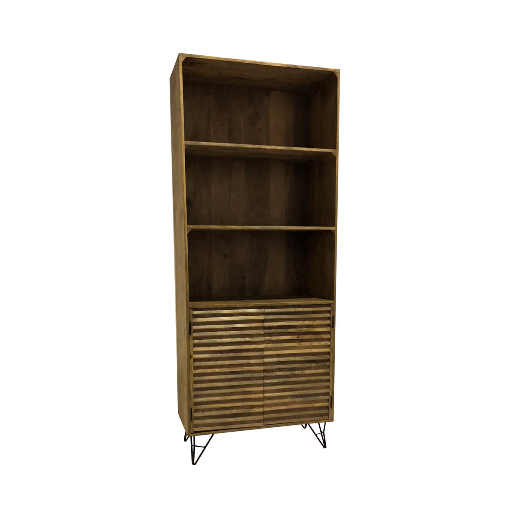 Shutter 3-Shelf Bookcase in Natural Finish