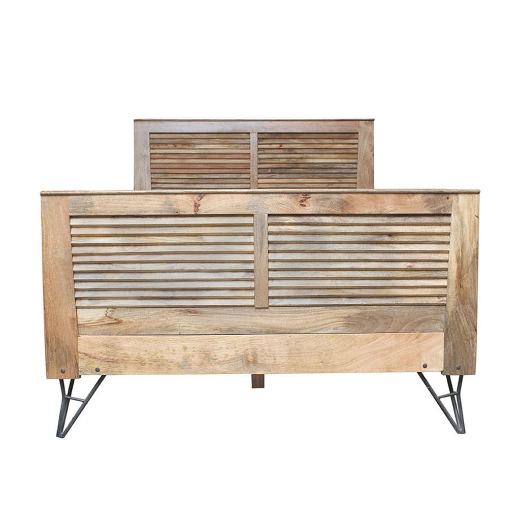 Shutter Queen-Size Bed Frame in Natural Finish
