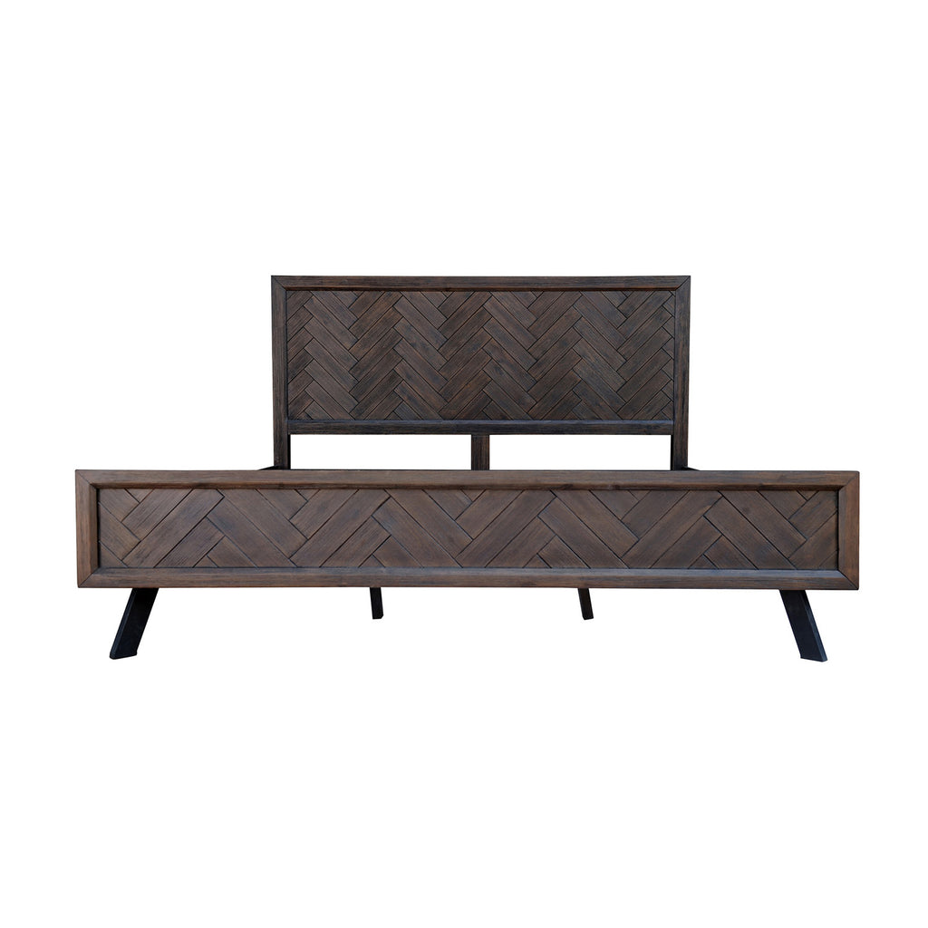 Bois et Cuir's Paris Series King-Size Bed Frame in Espresso Finish