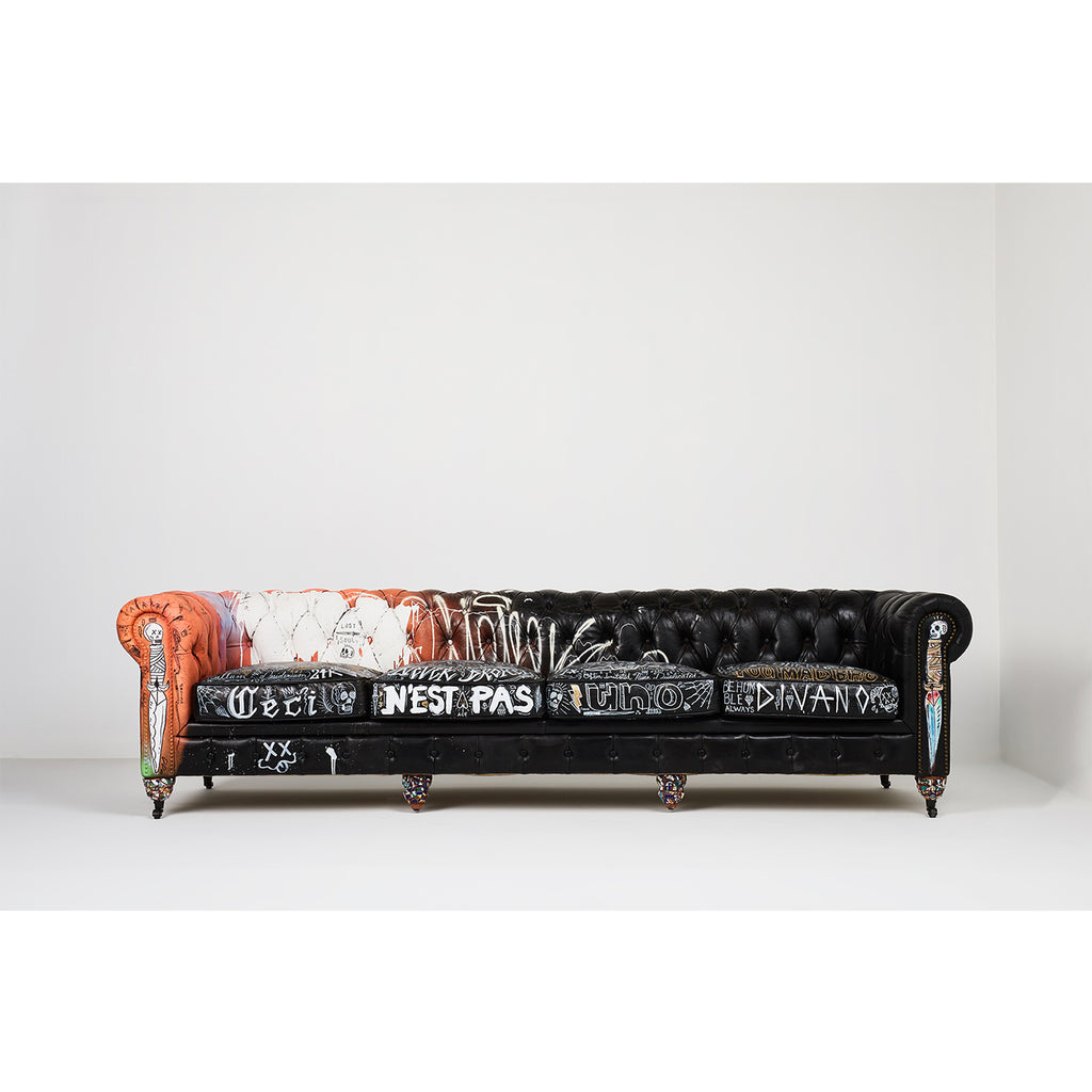 4 Place Chesterfield in top grain vintage distressed leather X Stikki Peaches Mixed Media Art Work Intervention
