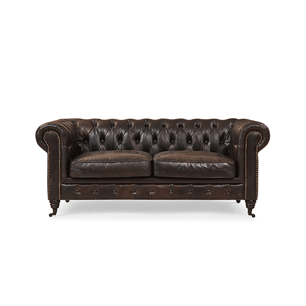 Vintage 2-Seater Leather Chesterfield Sofa