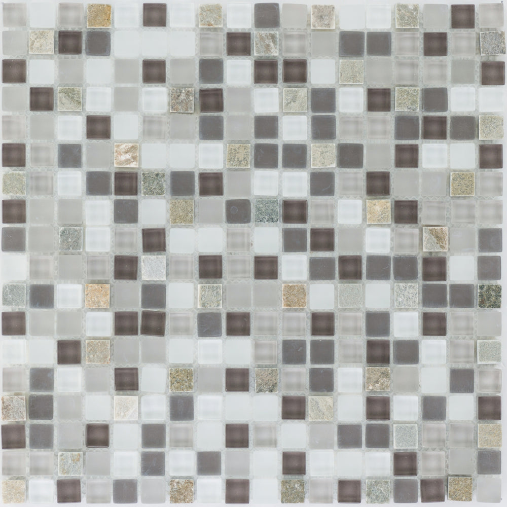Quarzit Beige Bunt Glasmix Blak Grey White