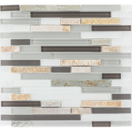 Quarzit Beige Color Glasmix Braun Grau Weiß Brick