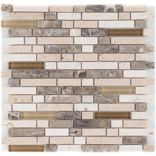 Marron Travertin Crema Glasmix Braun Brick