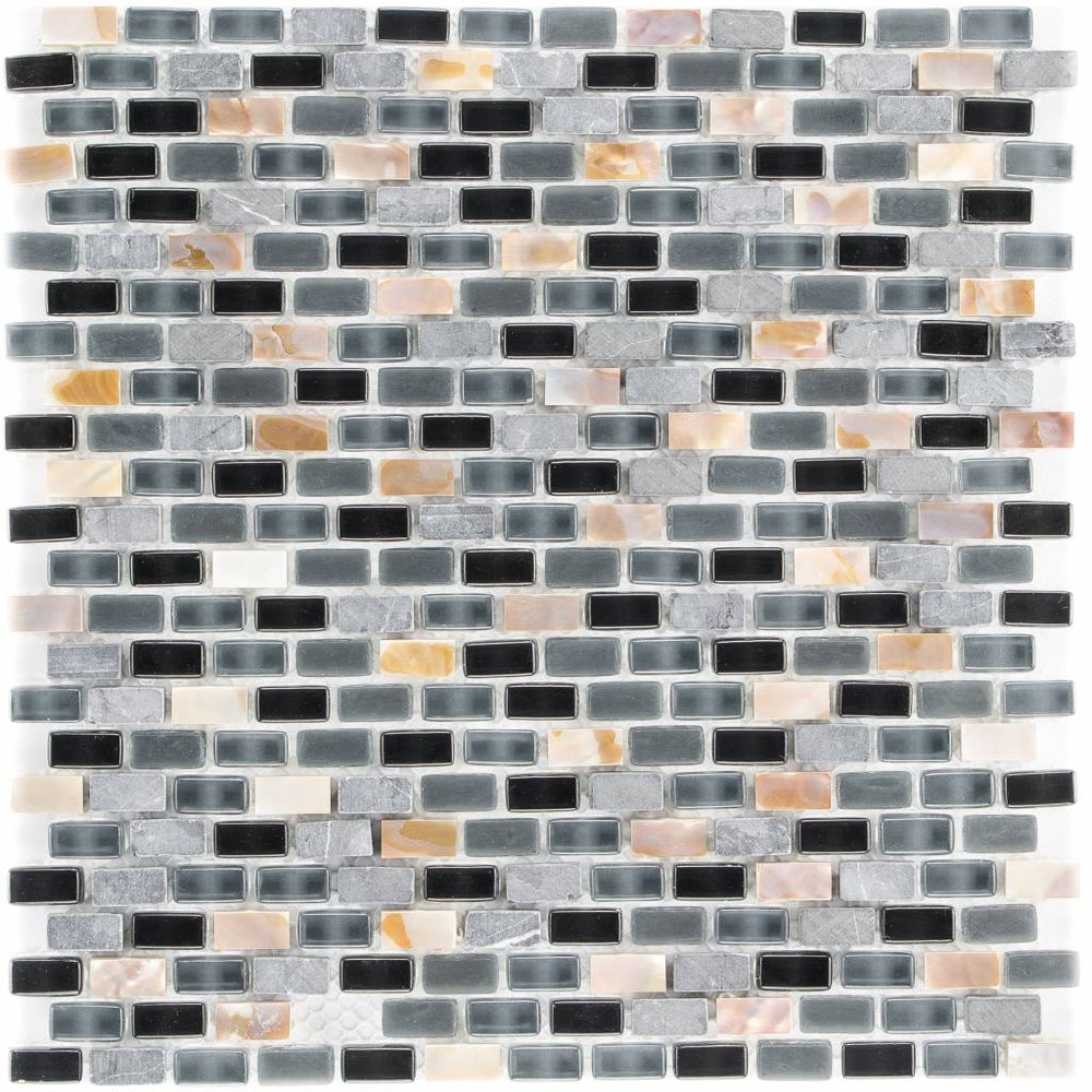 Glas & Mamor Mosaik 5th Avenue Black Mix Seashell - FliesenDeal24 - Fliesen günstig kaufen
