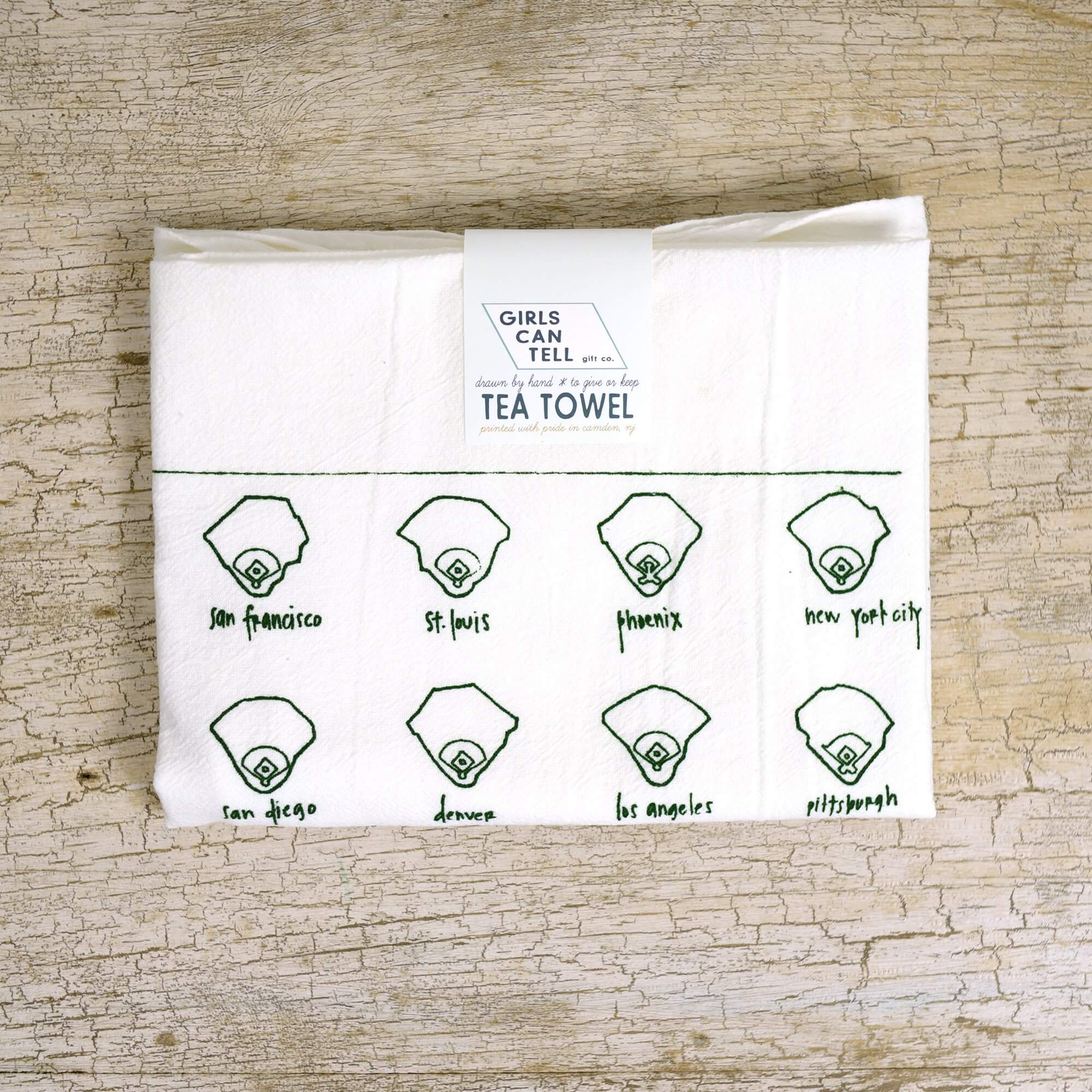 Baseball tea towel - National League Fields