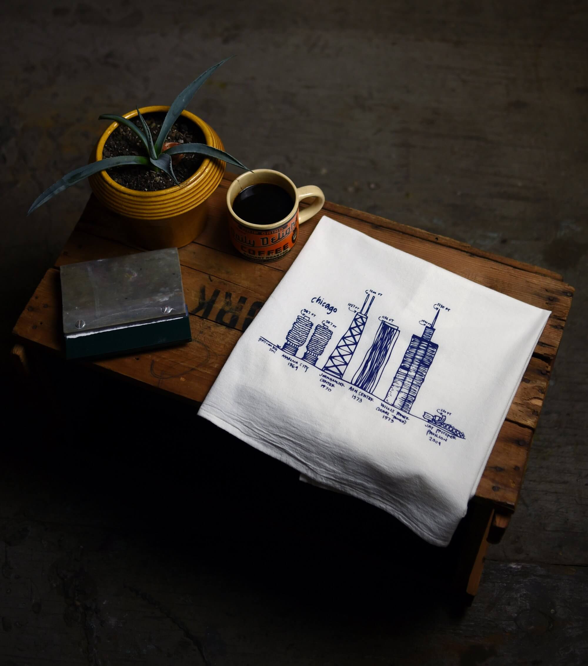 Chicago Buildings tea towel