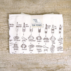 Food and Wine Pairings Tea Towel