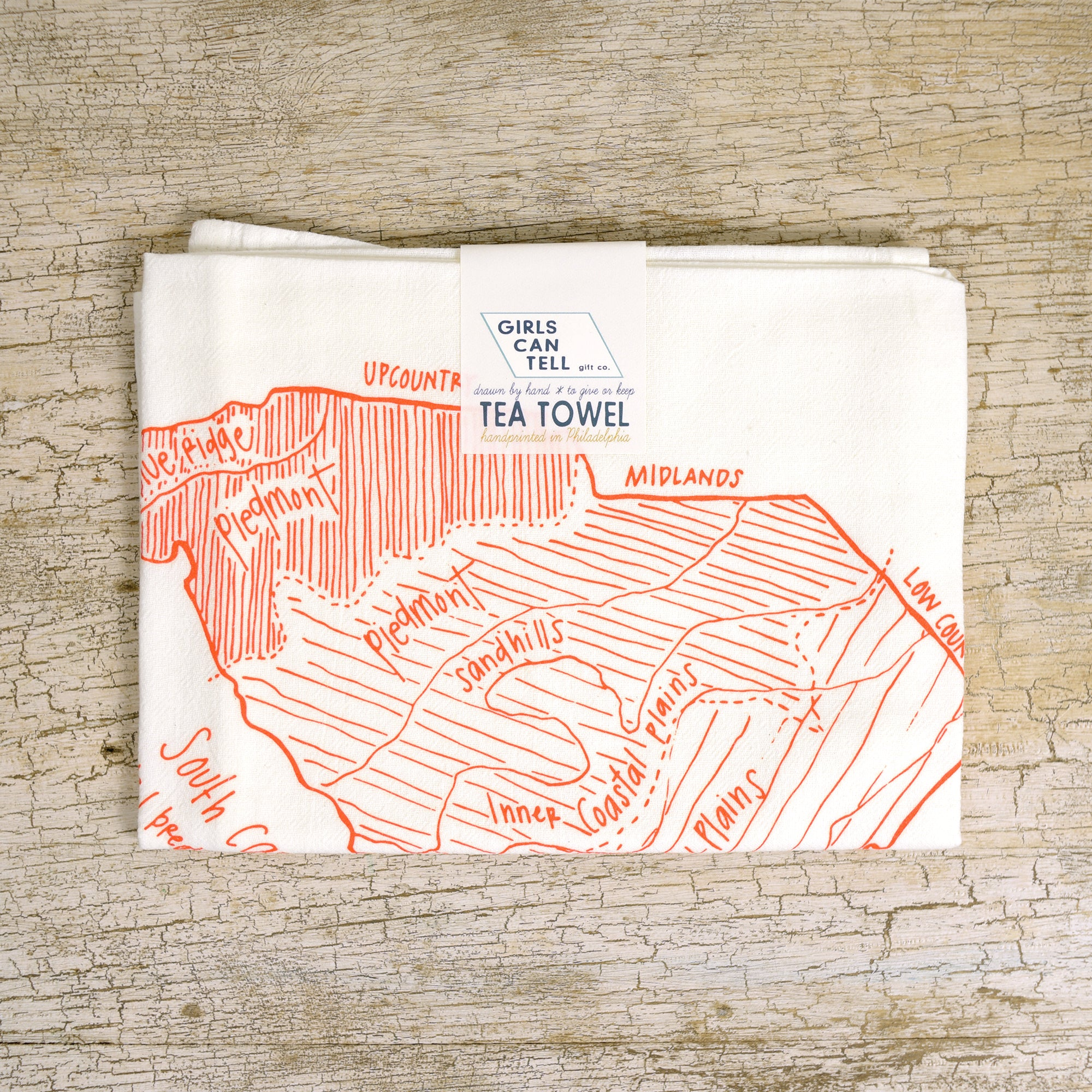 South Carolina Regions Tea Towel