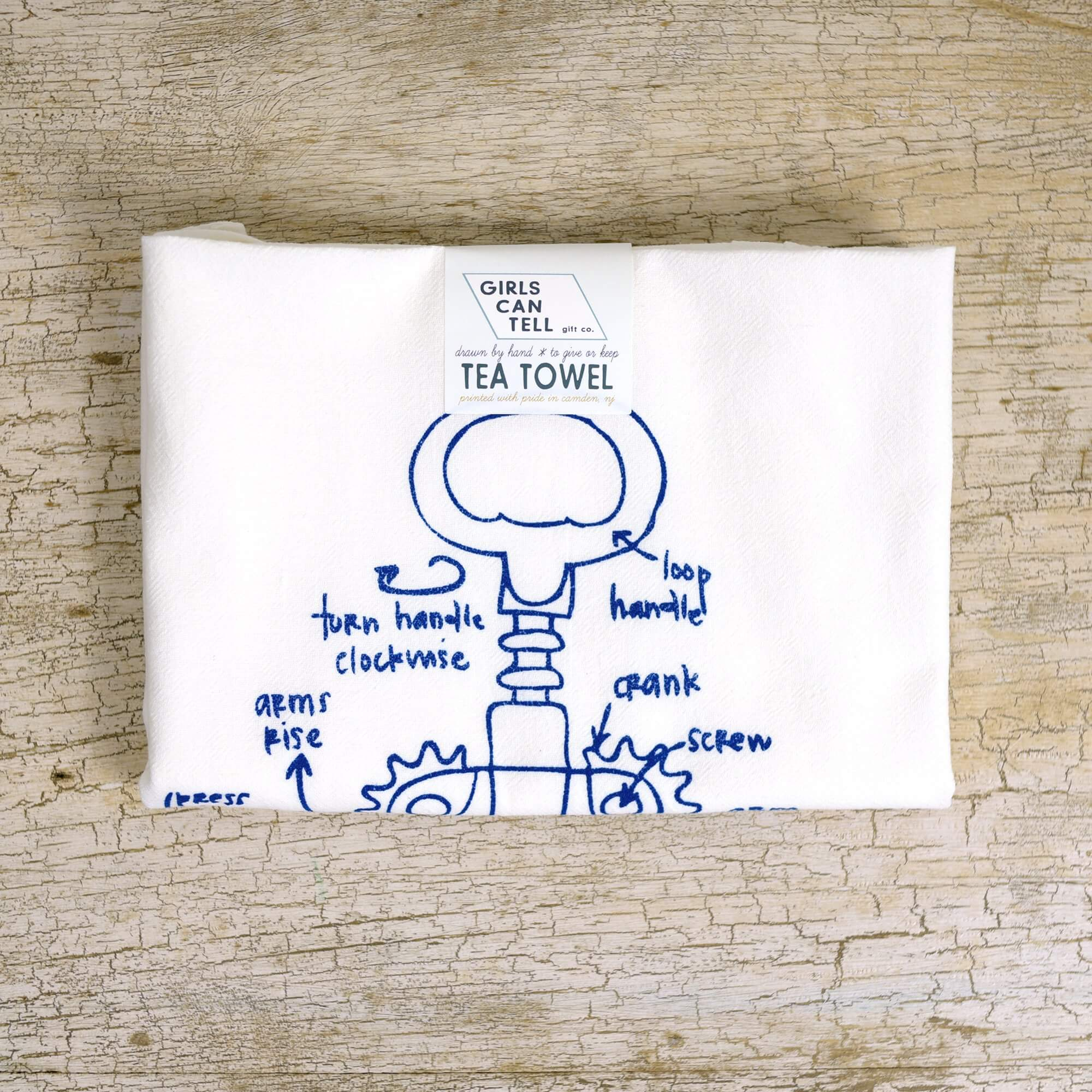Wine Corkscrew Tea Towel
