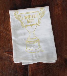 World's Best Grandparent Trophy tea towel