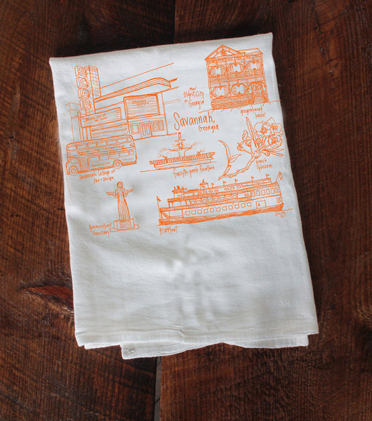Savannah Landmarks Tea Towel