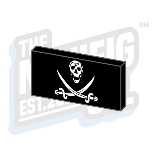 Custom Printed Lego - Calico Jolly Pirate Flag Tile (2x4) - The Minifig Co.