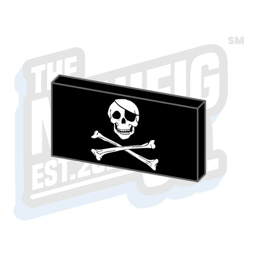 Custom Printed Lego - Jolly Roger Pirate Flag Tile (2x4) - The Minifig Co.