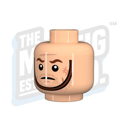 Custom Printed Lego - Chinstrap Head #04 (Lt. Flesh) - The Minifig Co.