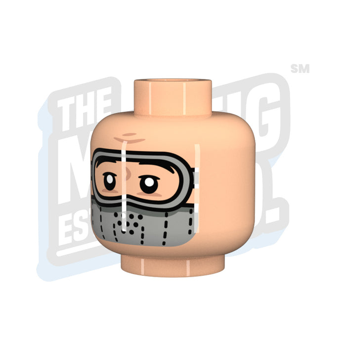 Custom Printed Lego - Goggle Head LBG (Lt. Flesh) - The Minifig Co.