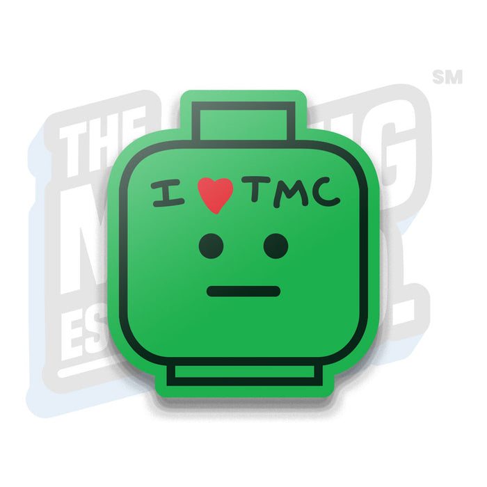 "Custom Printed Lego - ""I HEART TMC"" Head Magnet - The Minifig Co."