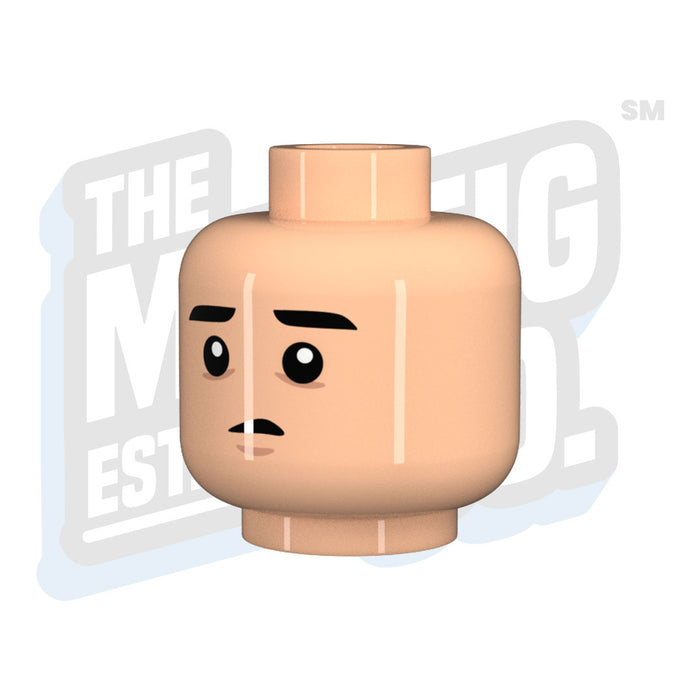 Custom Printed Lego - Spaced Out Head (Lt. Flesh) - The Minifig Co.