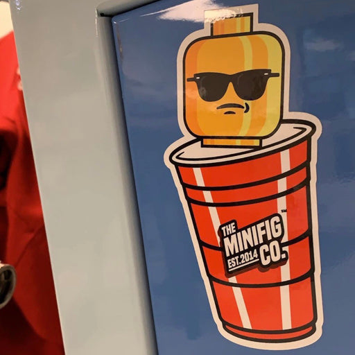 Custom Printed Lego - Red Cup Sticker - The Minifig Co.