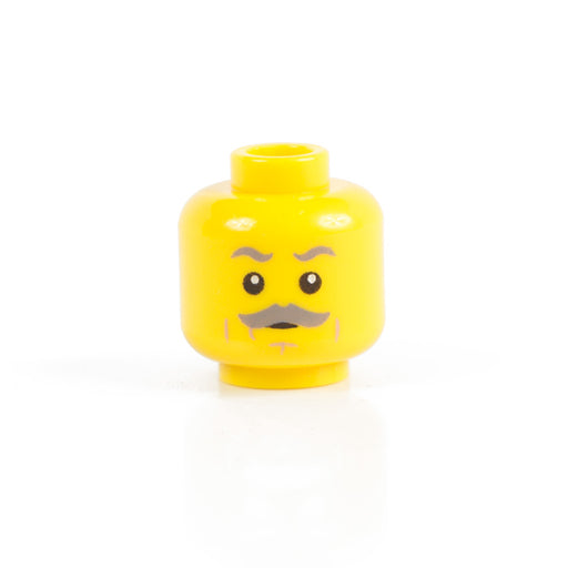 Custom Printed Lego - Grey Mustache Head [Yellow] - The Minifig Co.