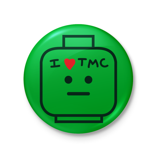 Custom Printed Lego - I ❤️ TMC Head Button - The Minifig Co.