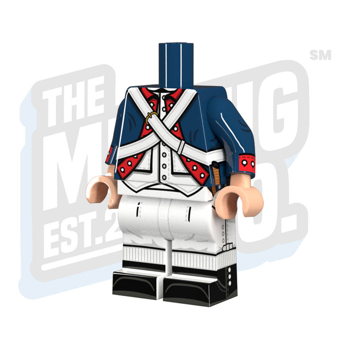 Custom Printed Lego - Continental Army Body (Dark Blue) - The Minifig Co.