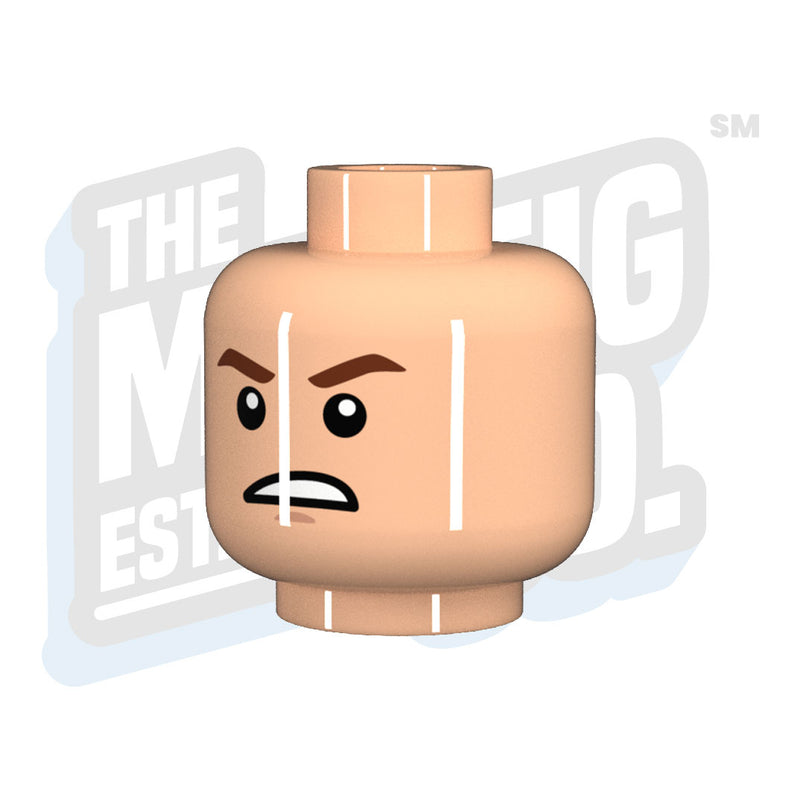 Custom Printed Lego - Furious Head (Lt. Flesh) - The Minifig Co.