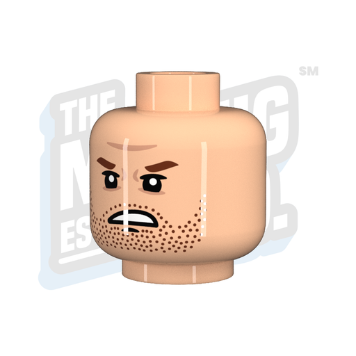 Custom Printed Lego - Angry Stubble Head (Lt. Flesh) - The Minifig Co.