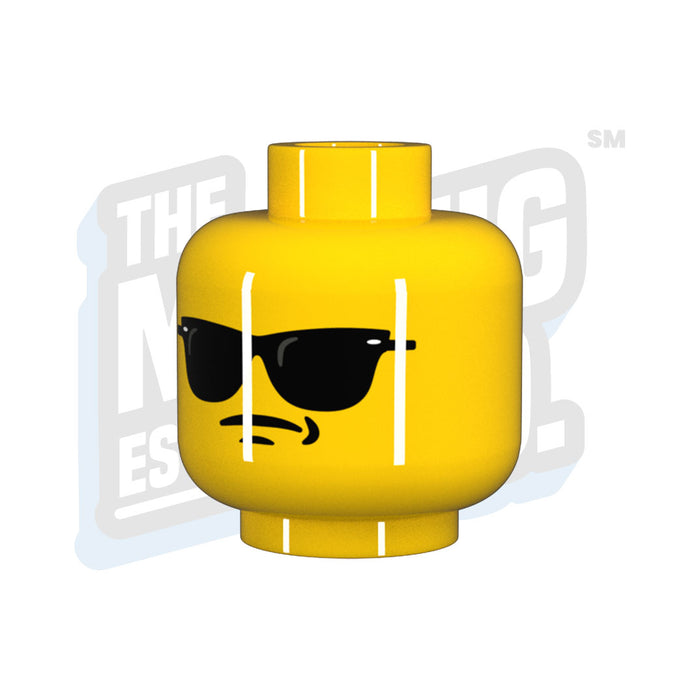 Custom Printed Lego - Wayfarer Head - Yellow - The Minifig Co.