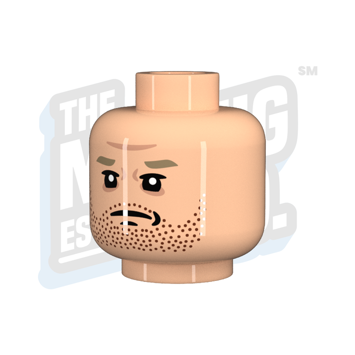 Custom Printed Lego - Stubble Head (Lt. Flesh) - The Minifig Co.