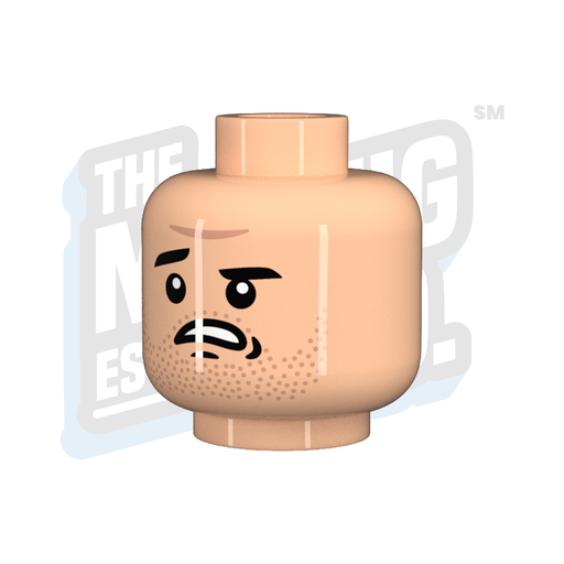 Custom Printed Lego - Alarmed Head (Lt. Flesh) - The Minifig Co.