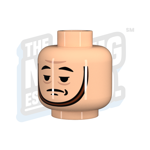 Custom Printed Lego - Tired Chinstrap Head (Lt. Flesh) - The Minifig Co.