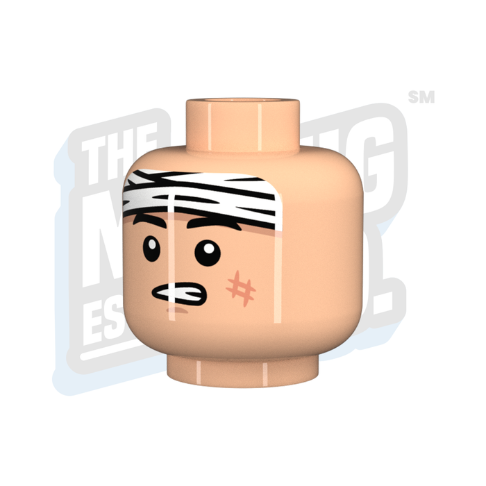 Custom Printed Lego - Wounded Head #8 (Lt. Flesh) - The Minifig Co.