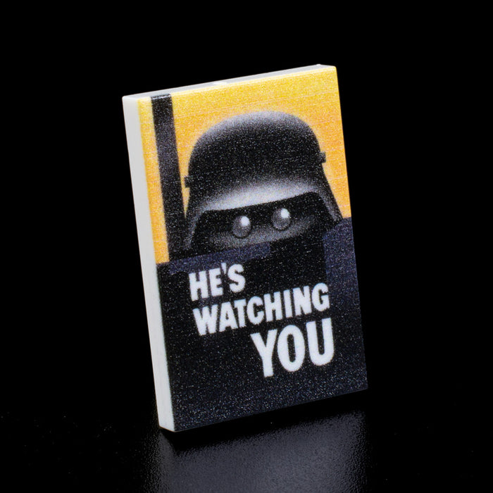 Custom Printed Lego - He's Watching You Poster Tile - The Minifig Co.