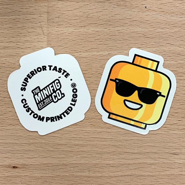 Custom Printed Lego - Risky Bricks Head Sticker - The Minifig Co.
