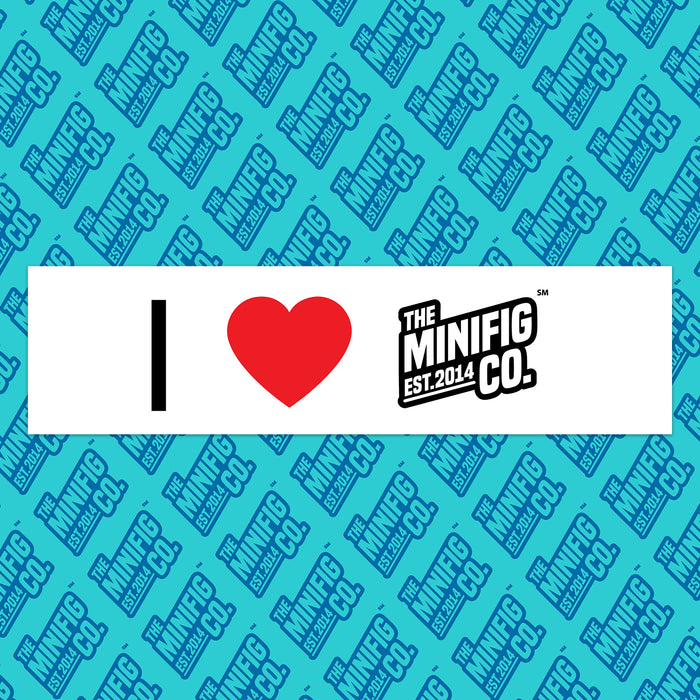Custom Printed Lego - I ❤️ TMC - Bumper Sticker - The Minifig Co.