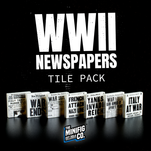 Custom Printed Lego - WWII Newspaper Tile Pack - The Minifig Co.