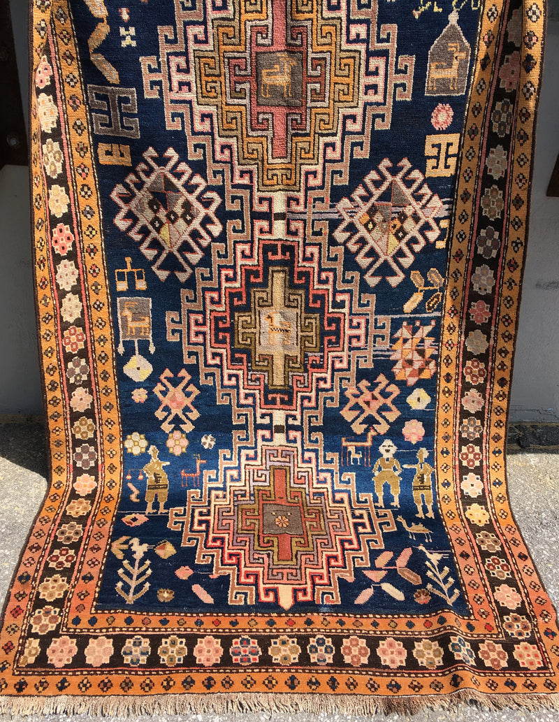Kazak Navy Rug |  4 x 9 Ft | Vintage Tribal Rug | Area rug | Blue and Pink Rug | Bohemian |