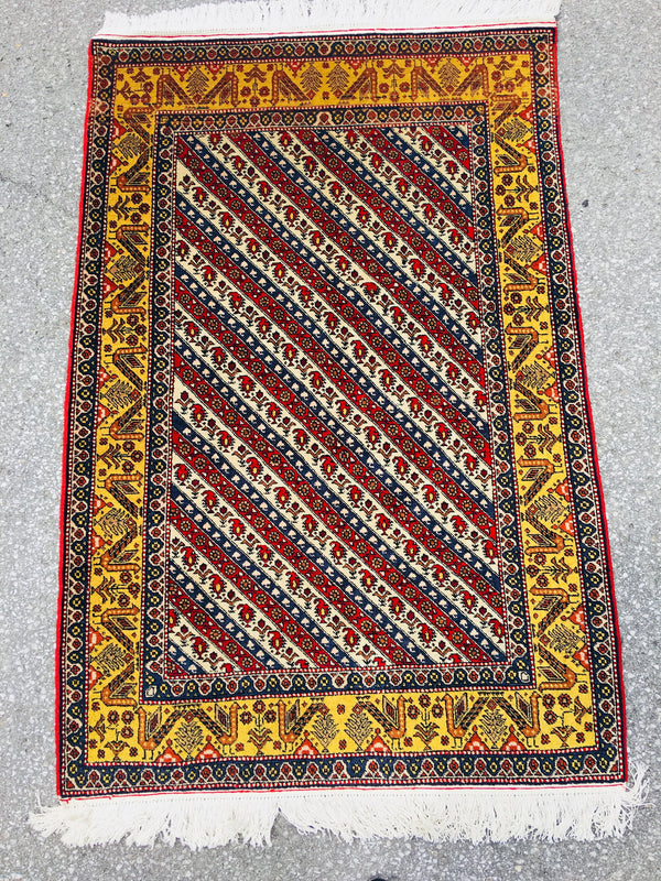 Oriental Striped Red White 3x5 Rug with Tribal Birds in Yellow Border